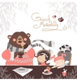 Girls drinking tea with a cute bear vector image vector image