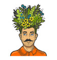 grass and leaves on head sketch engraving vector image