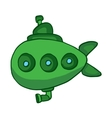 Green submarine underwater cartoon design vector image