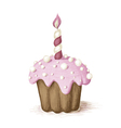 Hand drawn pink celebration muffin vector image vector image