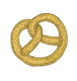 Hand drawn sketchy style colorful pretzel vector image