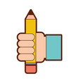 hand human with pencil school isolated icon vector image vector image