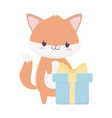 happy birthday fox with gift celebration vector image vector image