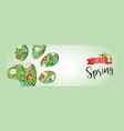 hello spring animal paw paper cutout web banner vector image vector image