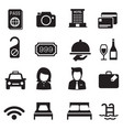 hotel silhouette icons set vector image vector image
