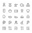 icon set - kitchen utensils and cooking outline st vector image