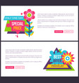 internet page set special promotion price off sale vector image vector image