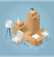 isometric boxes and chair illustration vector image vector image