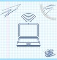 laptop and free wi-fi wireless connection line vector image vector image