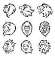 lion logo set premium design collection vector image