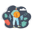 man with big dollar coin vector image vector image