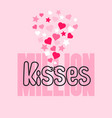 Million kisses card with handwritten word hearts