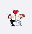 newlyweds are holding hands whit a heart balloon vector image vector image