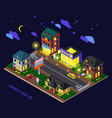 night suburb isometric composition vector image
