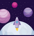 planet space universe with rocket vector image vector image