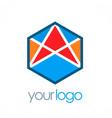polygon arrow color logo vector image
