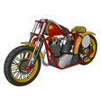 red and yellow vintage chopper motorcycle on vector image vector image