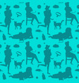 retro woman with cat fashion seamless pattern vector image vector image
