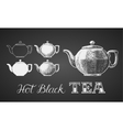 Set of teapots drawn on chalkboard vector image vector image