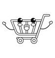 shopping cart kawaii character vector image