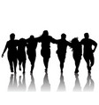 silhouette of dancing group vector image