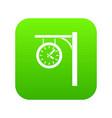 station clock icon digital green vector image vector image