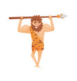 stone age prehistoric man with spear primitive vector image