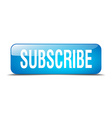 Subscribe blue square 3d realistic isolated web