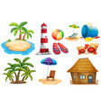 summer set with island and bungalow vector image