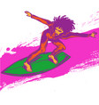 surfer pop art on wave vector image