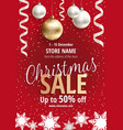 the christmas sale red poster for shop vector image vector image