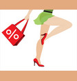 the shopping girl with bag vector image