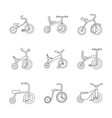 tricycle bicycle bike wheel icons set outline vector image