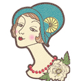 Vintage nice woman in a hat isolated on whit vector image vector image