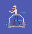 vr woman with aim controller on gaming treadmill vector image vector image