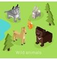 Wild Animal Set Isometric 3d Design vector image