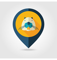 Otter beaver flat pin map icon Animal head vector image