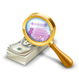 dollar pack becomes euro look through magnifier vector image