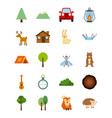 set of forest camp element expedition adventure vector image