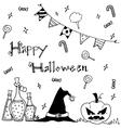 Cute hand-drawn Halloween vector image