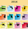 2016 Calendar with black cats silhouettes vector image