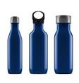 3d blue glossy metal reusable water bottle set vector image