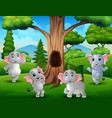 a group elephant playing under hollow tree vector image vector image