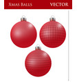 a set of red christmas balls vector image vector image