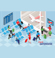 airport gatehouse indoor composition vector image vector image