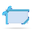 blue gift card with dotted ribbon and dotted bow vector image vector image