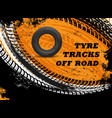 car off road tyres tracks grungy background vector image vector image