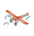 cartoon retro airplane in sky vector image
