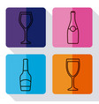 champagne bottle and glasses design vector image vector image