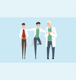 cheerful doctors cartoon characters set medical vector image
